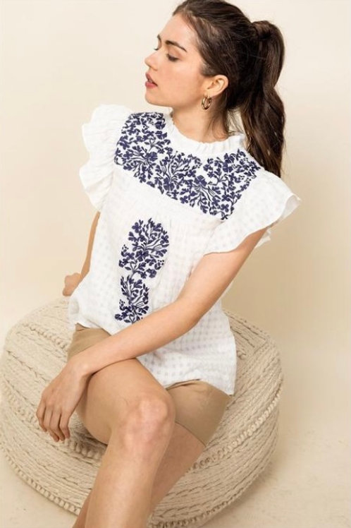 Embroidered Flutter Sleeve Top White
