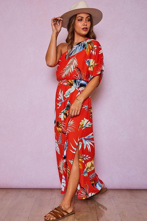One Shoulder Tropical Dress Red