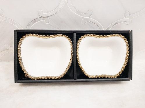 Gold Rim Set of 2 Dishes