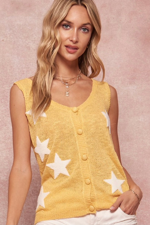 Stars Appliqué Sweater Tank