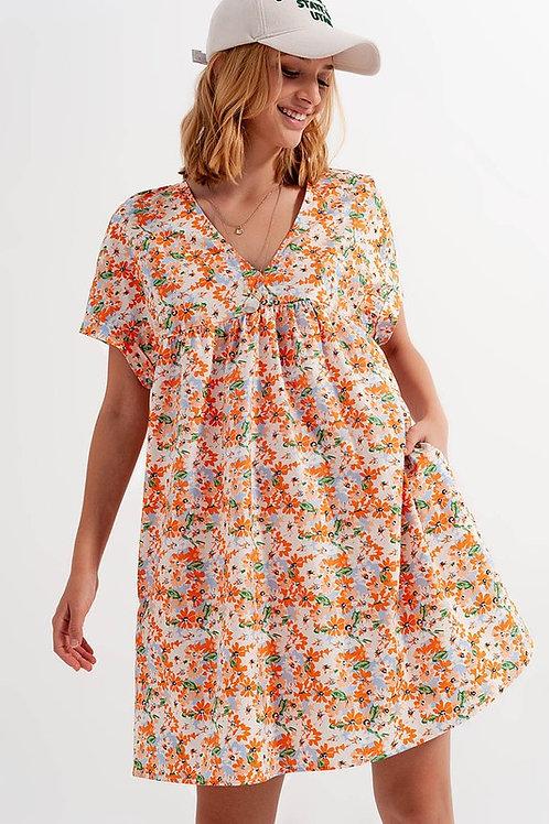 Orange Floral Babydoll Dress