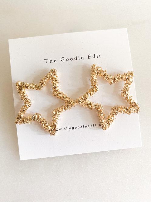 Gold Hammered Star Earrings