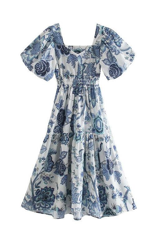 Blue & White Puff Sleeve Midi Dress