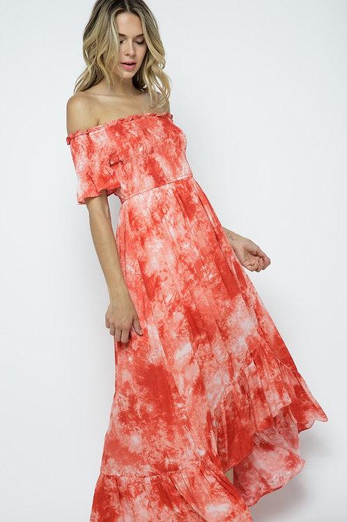 Smocked Off-Shoulder Tie Dye Dress