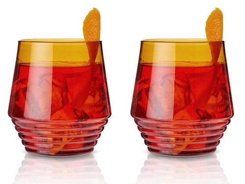 Amber Deco Cocktail Glasses - Set of 2 by Viski