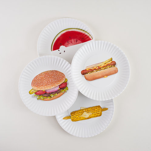 BBQ Melamine Plates SET 4
