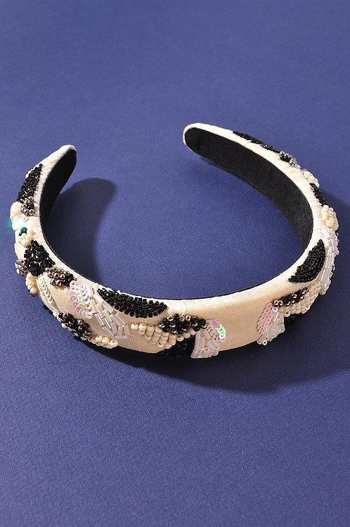 Black & White Beaded Headband