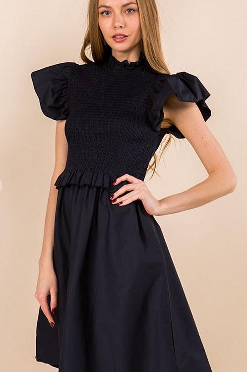 Smocked puff Sleeve Date Dress (NAVY)