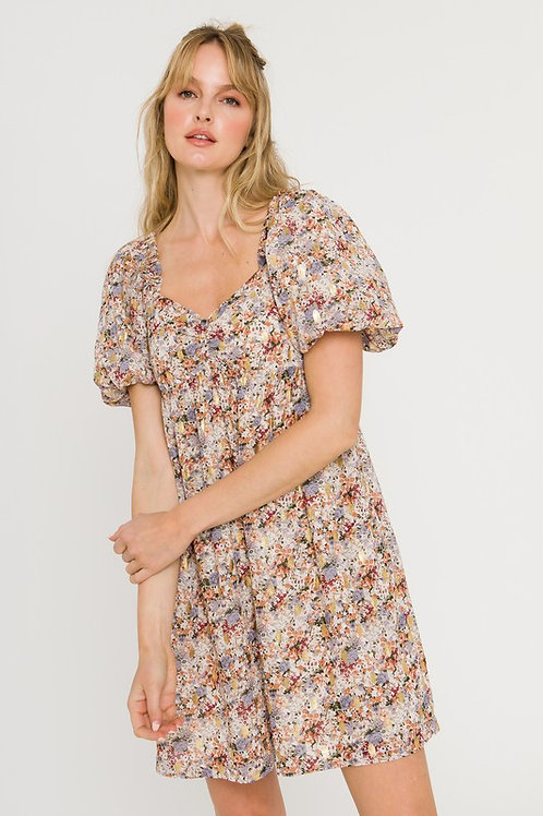 Gilded Floral Puff Sleeve Dress