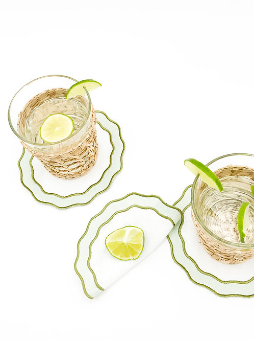 Round Linen Cocktail Napkin (Olive)