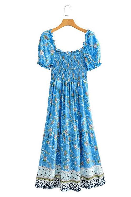 Cerulean Smocked Border Dress