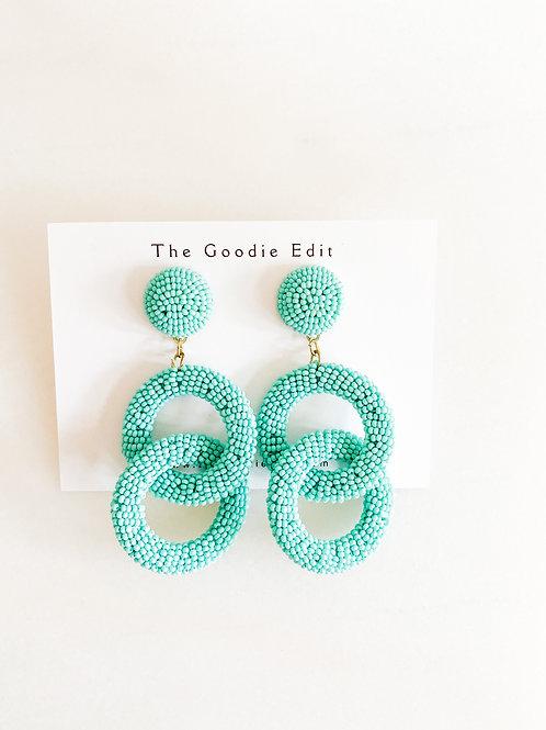 Beaded Turquoise Ring Drop Earrings