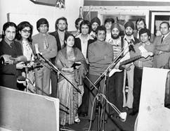 Mangesh with musicians  from Farida Ali's album recording,1975