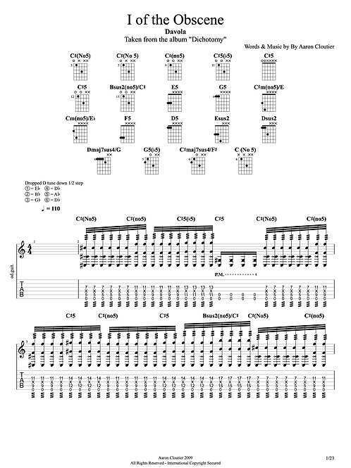 I of the Obscene Guitar Tablature/Sheet Music