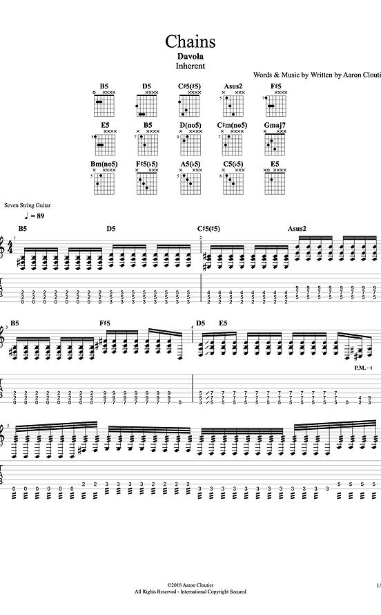 """""""Chains"""" Guitar Tablature/Sheet Music"""