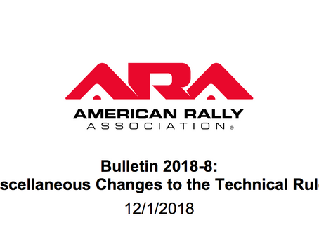 ARA Bulletin 2018-8 - Technical Rules Updates has been posted