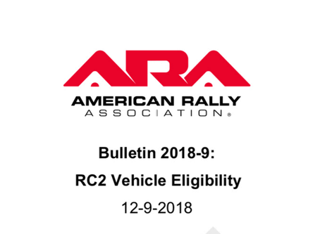 ARA Bulletin 2018-9 RC2 Vehicle Eligibility has been posted