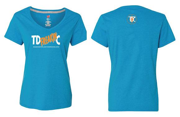 Women's V Neck Blue Shirt