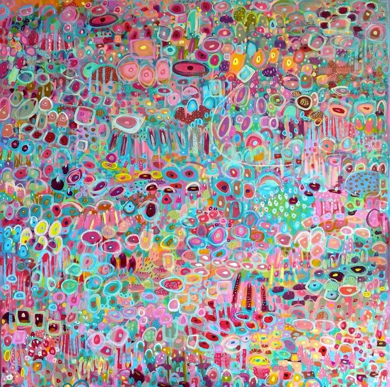 Plotting Growth (Eternal Celebration), acrylic on linen, 100 x 100 cm, 2021