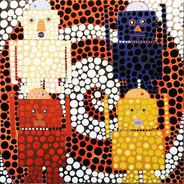 Robot #5_  'Hands Up'  36_x36_  acrylic