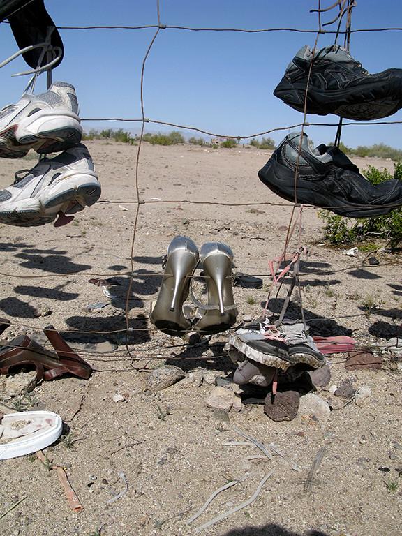 silver heels - shoe fence