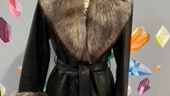 St. John Leather & Fox Fur Coat