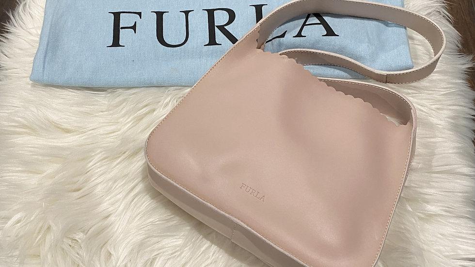 Furla Scalloped Leather Shoulder Bag