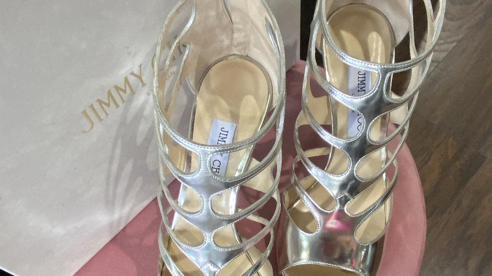 Jimmy Choo Ren 100 Mirror Leather Sandals