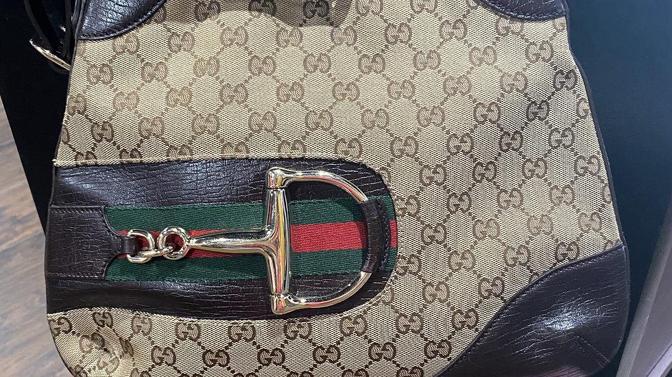 Gucci Monogram Canvas Web Horsebit Bag