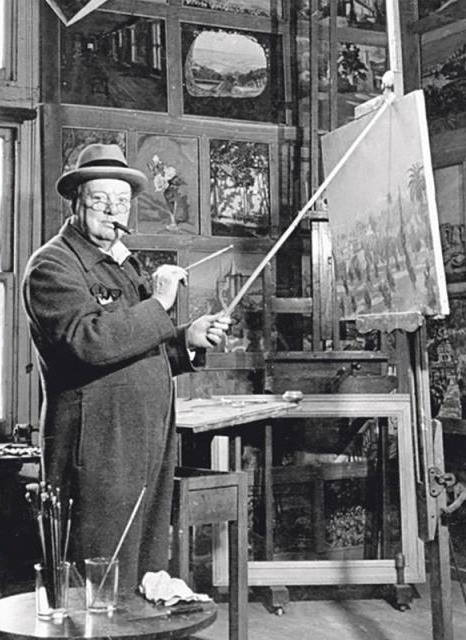 Photo of Winston Churchill working at his easel