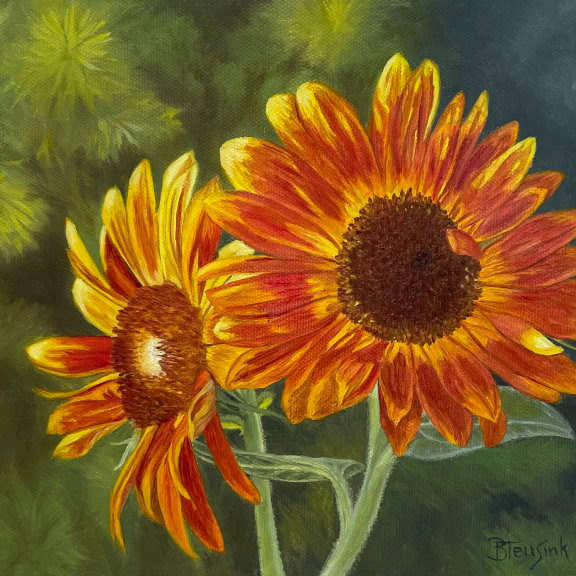 """Oil painting """"Red Sun Flowers"""" by Barbara Teusink"""