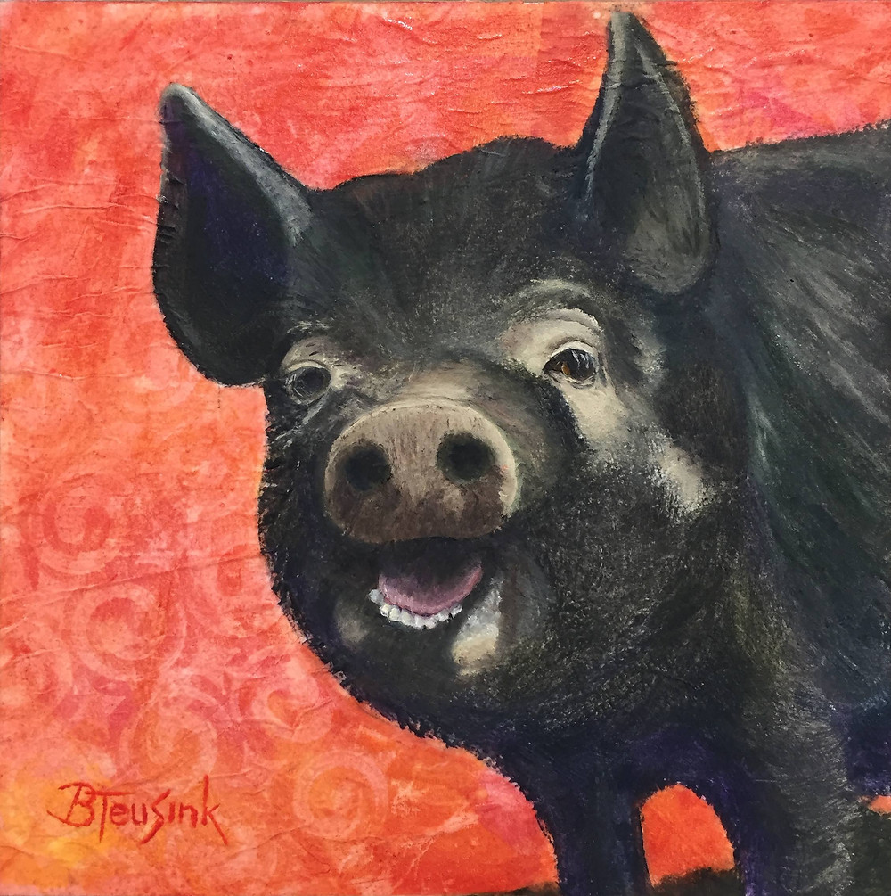 """Happy Hog"" mixed media painting by Barbara Teusink"