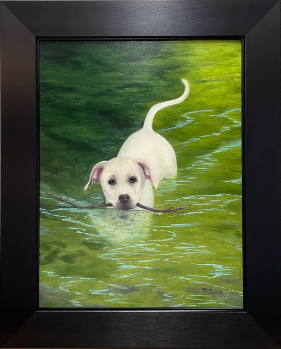 "Original Oil painting: ""Tubbs Learns to Swim"" by Barbara Teusink"