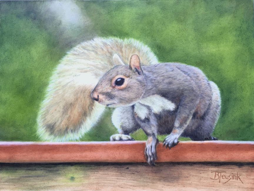 "Oil Painting ""Squirrel!"" by Barbara Teusink"