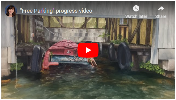 """Link to video progression for painting """"Free Parking"""" by Barbara Teusink"""