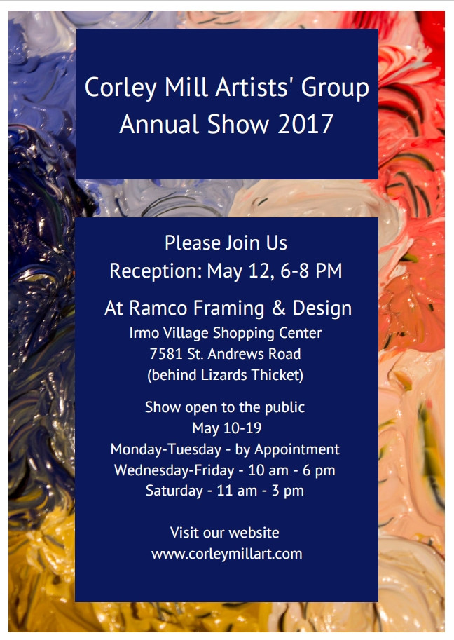 Invitation to Corley Mill Artists' Group Annual Show 2017