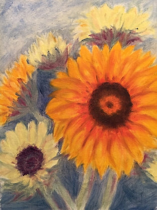 """Still Sunflowers""  (oil on 8x6 paper)"