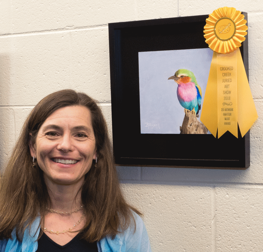 "Artist Barbara Teusink and her Award Winning Piece ""Lilac Breasted Roller"""