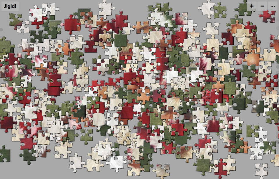 """Unsolved jigsaw puzzle of Painting: """"Jolly Old Elf"""" by Barbara Teusink"""