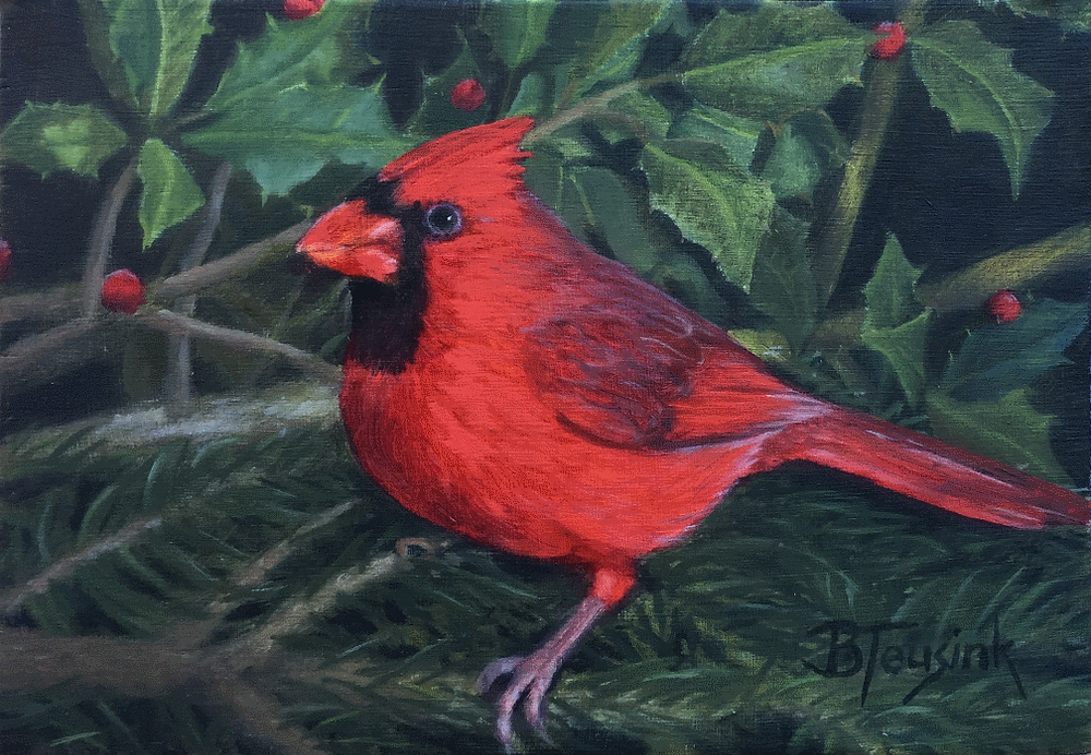 """Christmas Cardinal"" oil painting by Barbara Teusink"