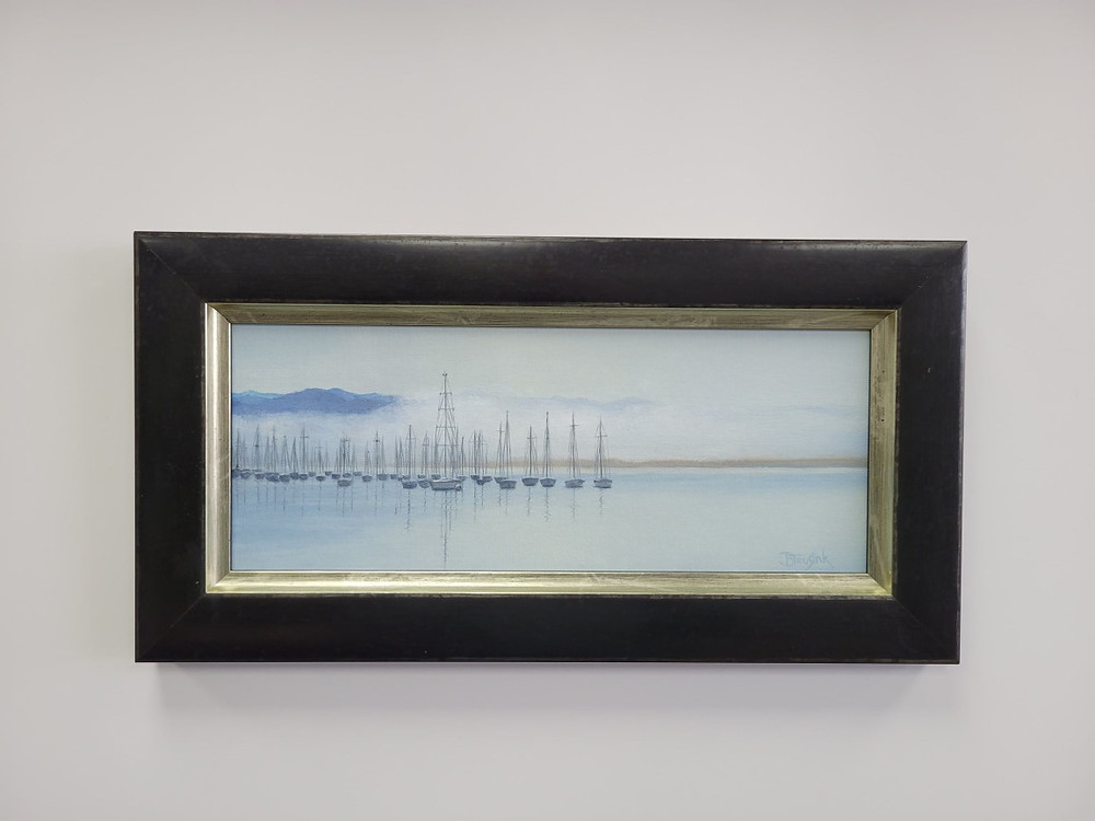 """Photo of painting """"Morro Bay"""" by Barbara Teusink in frame"""