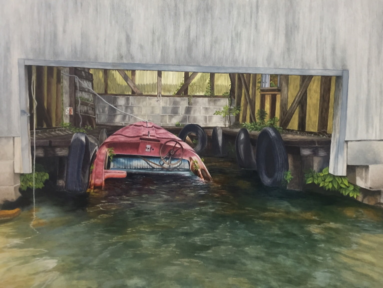 """Painting by Barbara Teusink, tentatively titled """"Free Parking"""""""