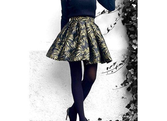 Minigonna jacquard black&gold