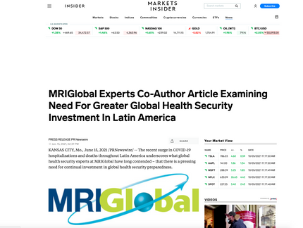 Experts Co-Author Article Examining Need For Global Health Security Investment In Latin America