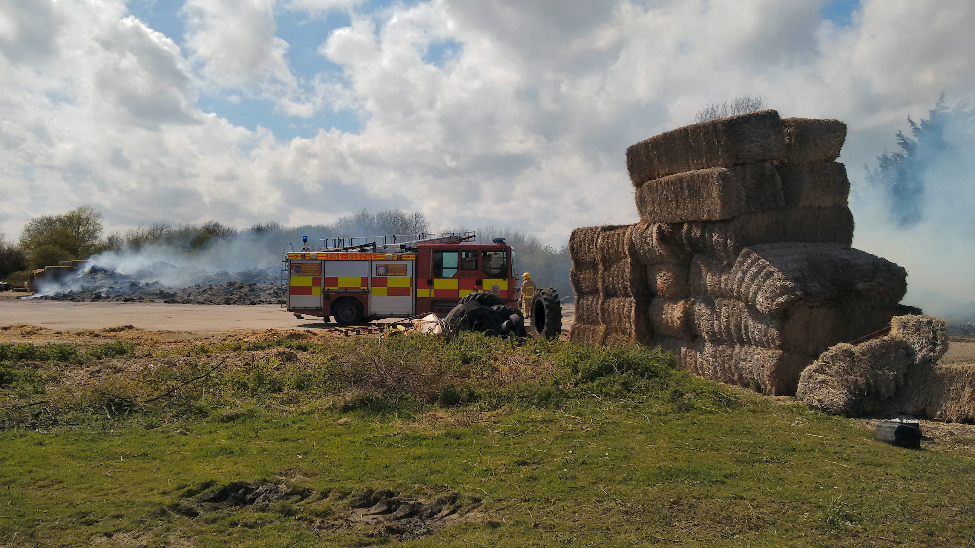 Hay bales destroyed by fire
