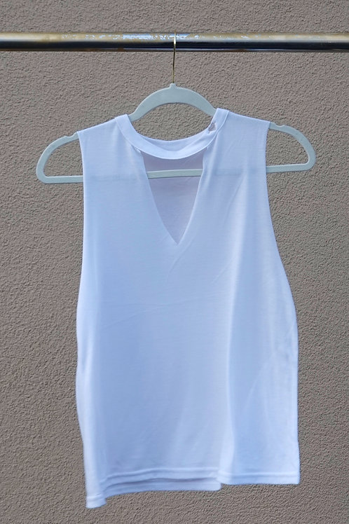 WHITE CUT-NECK TANK