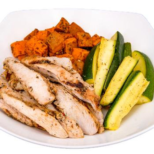Grilled Chicken, Sweet Potatoes & Zucchini