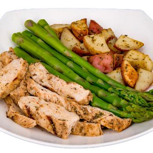 Grilled Chicken, Potatoes & Asparagus
