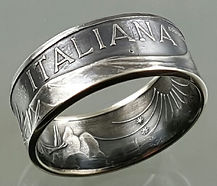 Italian silver coin ring