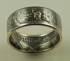Walking Liberty half dollar coin ring